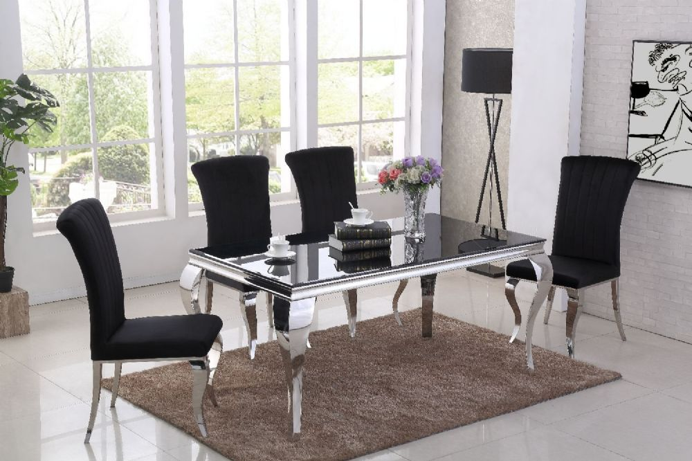 GA Liyana Black Dining Table & 4, 6 Black  Chairs
